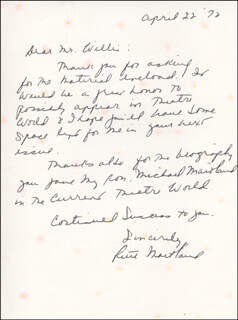 RUTH MAITLAND - AUTOGRAPH LETTER SIGNED 04/22/1972