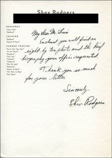 SHEV RODGERS - AUTOGRAPH LETTER SIGNED