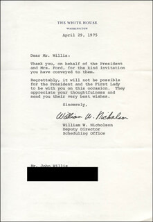 WILLIAM W. NICHOLSON - TYPED LETTER SIGNED 04/29/1975