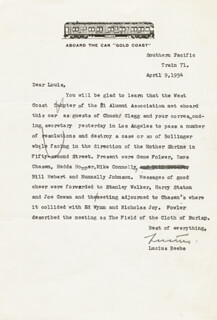 LUCIUS MORRIS BEEBE - TYPED LETTER SIGNED 04/09/1954