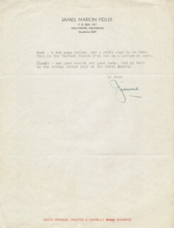 JAMES JIMMIE FIDLER - TYPED LETTER SIGNED 2/7