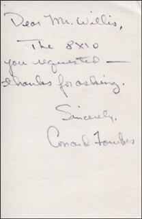 CONARD FOWKES - AUTOGRAPH NOTE SIGNED