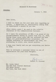 ROBERT KINTNER - TYPED LETTER SIGNED 01/07/1966