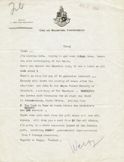 J. WALTER KENNEDY - TYPED LETTER SIGNED  - HFSID 31818