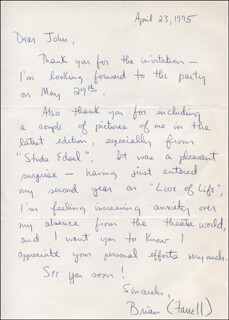 BRIAN FARRELL - AUTOGRAPH LETTER SIGNED 04/23/1975