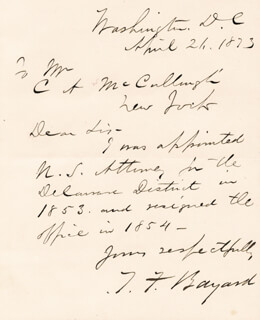 THOMAS F. BAYARD SR. - AUTOGRAPH LETTER SIGNED 04/21/1873