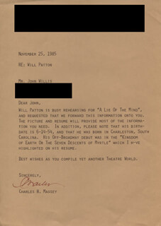 CHARLES H. MASSEY - TYPED LETTER SIGNED 11/25/1985