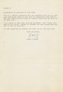 HARRY JOLSON - TYPED LETTER SIGNED 03/08/1952