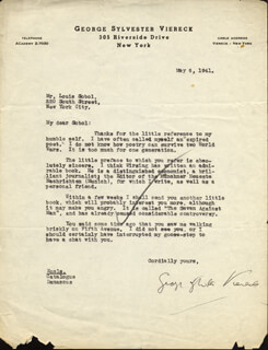 GEORGE SYLVESTER VIERECK - TYPED LETTER SIGNED 05/06/1941