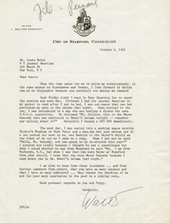 J. WALTER KENNEDY - TYPED LETTER SIGNED 10/06/1961  - HFSID 31830