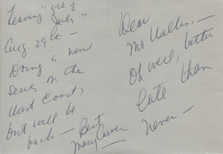 MARY CARVER - AUTOGRAPH LETTER SIGNED
