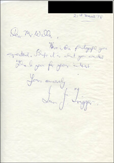 IAN TRIGGER - AUTOGRAPH LETTER SIGNED 03/21/1978