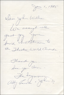 ABBY LEWIS - AUTOGRAPH LETTER SIGNED 06/01/1985