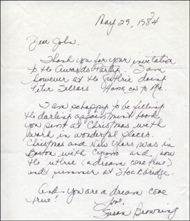 SUSAN BROWNING - AUTOGRAPH LETTER SIGNED 05/29/1984