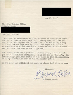 EDWARD CATON - TYPED LETTER SIGNED 05/10/1967