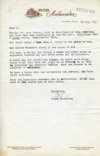 FRANK RODEO ROY NICHOLSON - TYPED LETTER SIGNED 10/20/1955
