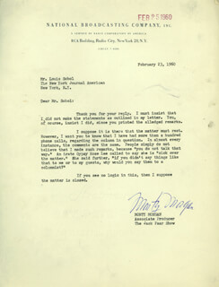 MONTY MORGAN - TYPED LETTER SIGNED 02/23/1960