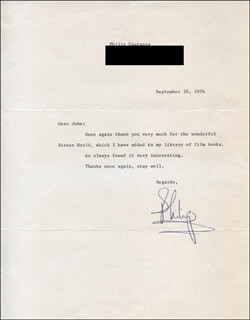 Autographs: PHILIP CASTANZA - TYPED LETTER SIGNED 09/26/1974
