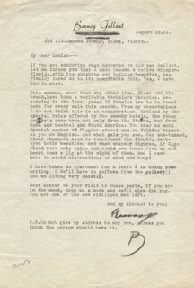 BARNEY GALLANT - TYPED LETTER SIGNED 08/15/1951
