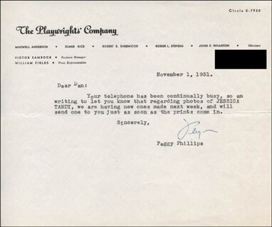 PEGGY PHILLIPS - TYPED LETTER SIGNED 11/01/1951