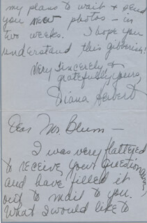 DIANA HERBERT - AUTOGRAPH LETTER SIGNED