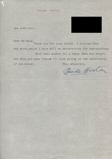 CLAUDE HORTON - TYPED LETTER SIGNED 12/24/1951