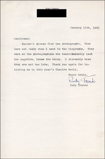 RUDY TRONTO - TYPED LETTER SIGNED 01/13/1965