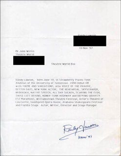 RANDY LAWSON - TYPED LETTER SIGNED 11/10/1997