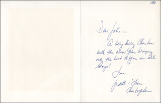 JUDITH (LEVERONE) CHRISTOPHER - AUTOGRAPH NOTE SIGNED 1986