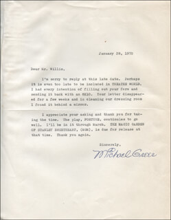 MICHAEL GREER - TYPED LETTER SIGNED 01/28/1970