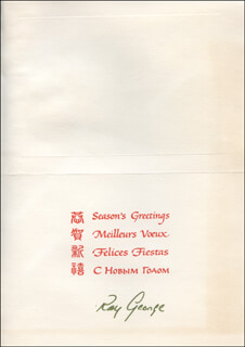 RAY GEORGE - CHRISTMAS / HOLIDAY CARD SIGNED