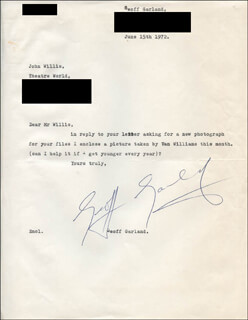 GEOFF GARLAND - TYPED LETTER SIGNED 06/15/1972