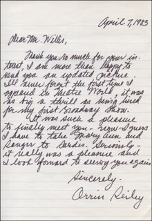 ORRIN REILEY - AUTOGRAPH LETTER SIGNED 04/07/1983