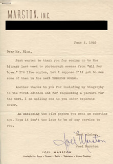 JOEL MARSTON - TYPED LETTER SIGNED 06/05/1946