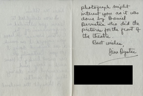 JIM OYSTER - AUTOGRAPH LETTER SIGNED CIRCA 1954