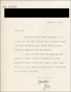 JIM OYSTER - TYPED LETTER SIGNED 01/05/1965