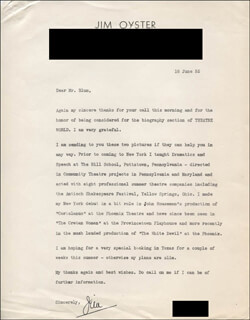 JIM OYSTER - TYPED LETTER SIGNED 06/18/1955