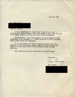 ANN CONVERY - TYPED LETTER SIGNED 07/21/1980