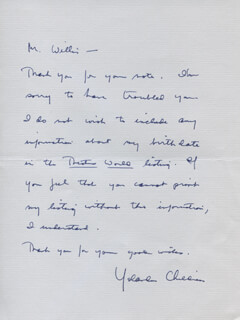 YOLANDA CHILDRESS - AUTOGRAPH LETTER SIGNED