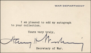 Autographs: HARRY HINES WOODRING - TYPED NOTE SIGNED