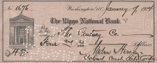 MAJOR GENERAL ANDREW HERO, JR. - AUTOGRAPHED SIGNED CHECK 01/09/1924