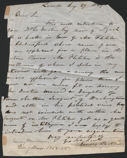 GOVERNOR EMORY WASHBURN - AUTOGRAPH LETTER SIGNED 08/29/1841