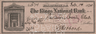 LT. GENERAL JAMES G. HARBORD - AUTOGRAPHED SIGNED CHECK 02/01/1920