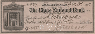 LT. GENERAL JAMES G. HARBORD - AUTOGRAPHED SIGNED CHECK 12/03/1919 CO-SIGNED BY: EMMA O. HARBORD