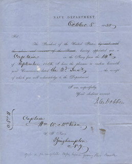 Autographs: JAMES C. DOBBIN - NAVAL APPOINTMENT SIGNED 10/08/1855