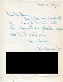 KATE HARRINGTON - AUTOGRAPH LETTER SIGNED 11/05/1962