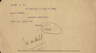 WALTER KING OF BROADWAY WINCHELL - TELEGRAM SIGNED 2/27
