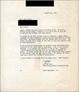Autographs: WILLIAM COMO - TYPED LETTER SIGNED 08/30/1966