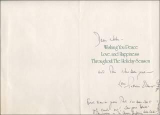 PATRICIA ELLIOTT - AUTOGRAPH NOTE ON CHRISTMAS / HOLIDAY CARD SIGNED