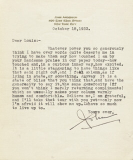 JOHN ANDERSON - TYPED LETTER SIGNED 10/18/1933